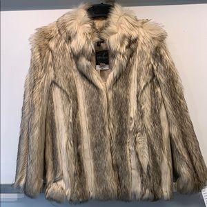Multicolored faux fur pea coat